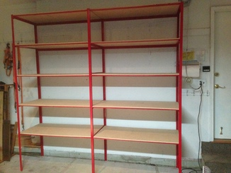 Painted metal shelves for the garage